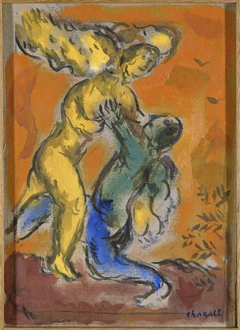 Marc Chagall - Giacobbe lotta con l'Angelo
